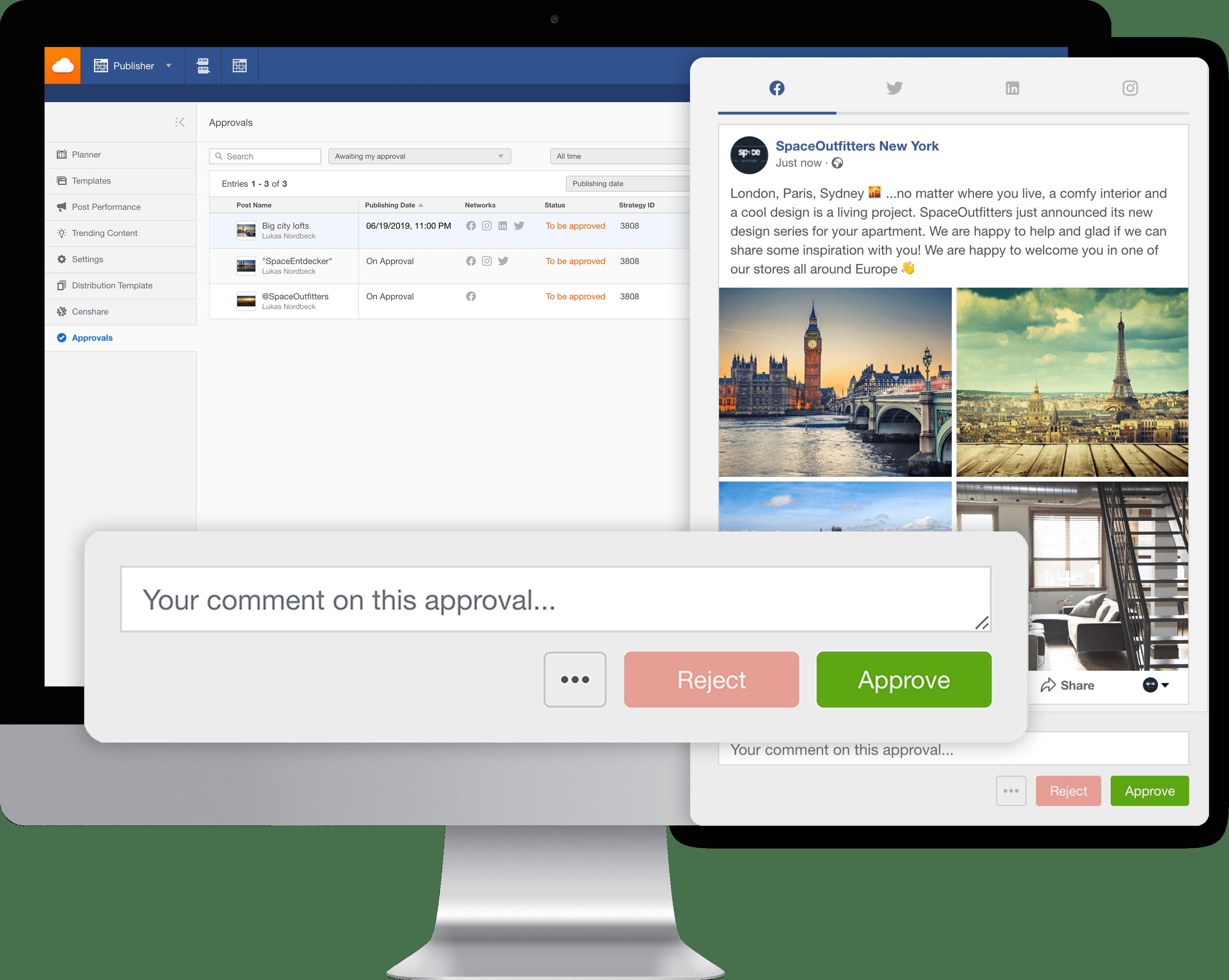 Nouveau process d'approbation publications Social Media Facelift Cloud
