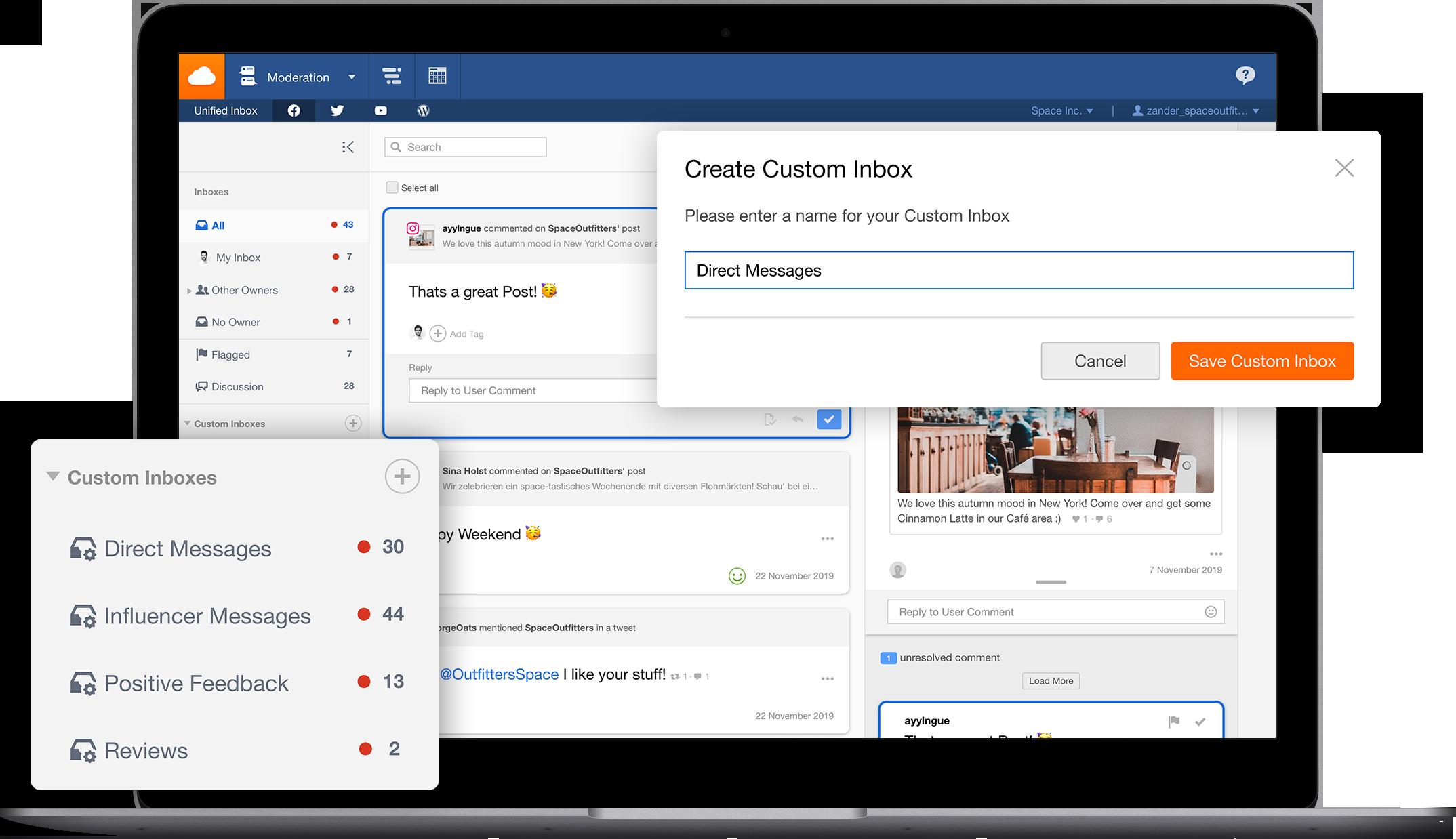 Boîtes de réception personnalisées dans l'Unified Inbox de Facelift cloud