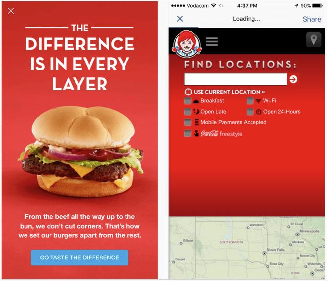 Facebook Instant Ads bieten immer noch die Möglichkeit, eine externe Landing Page anzubieten