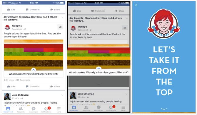 Instant Ads öffnen sich direkt auf Facebook und zwingen den User nicht zum Verlassen der Plattform