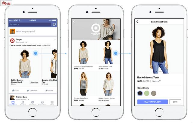 Target ermöglicht es potenziellen Kunden, Produkte direkt innerhab des Facebook News Feeds anzuschauen und zu kaufen, ohne Facebook verlassen zu müsssen