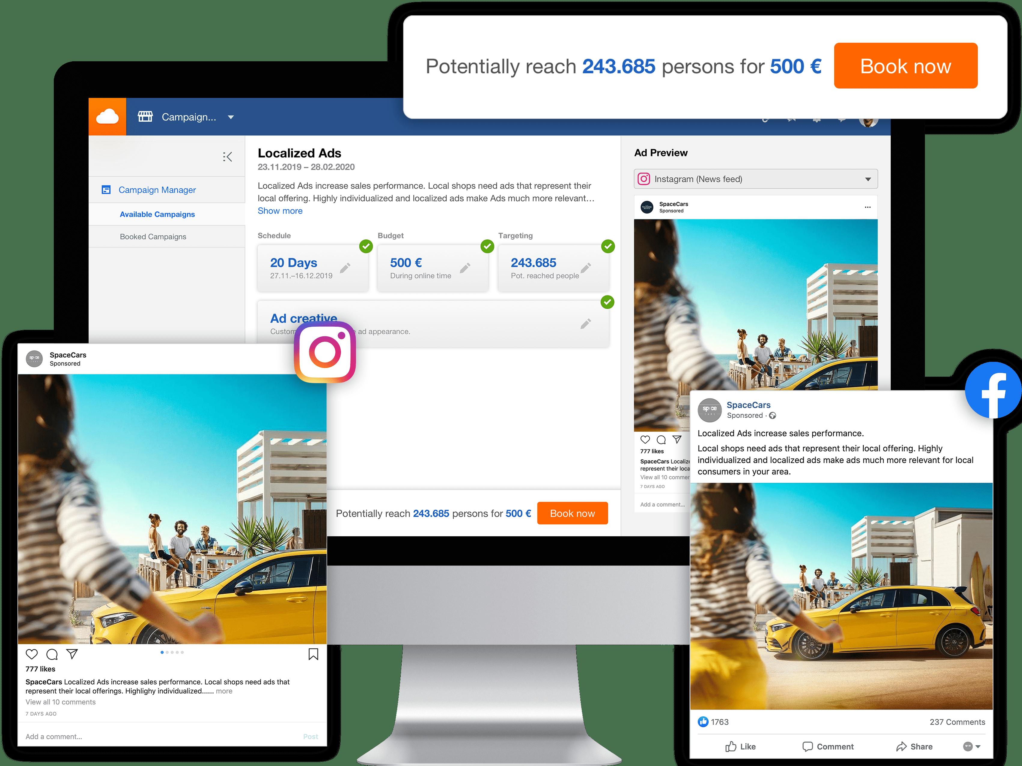Campagnes de Social Ad localisées avec le Business Hub de Facelift Cloud